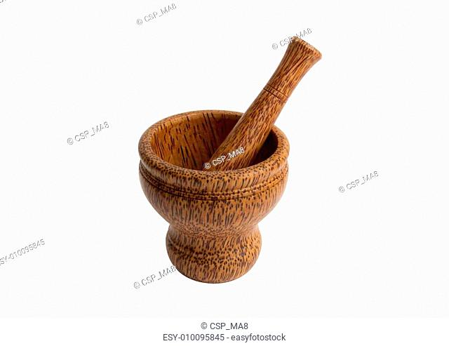 Wooden mortar and pestle with path