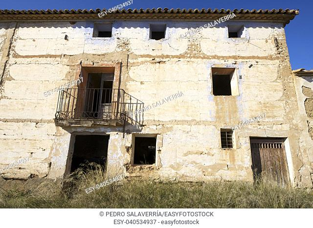 Abandoned rural building in Zaragoza Province, Aragon, Spain