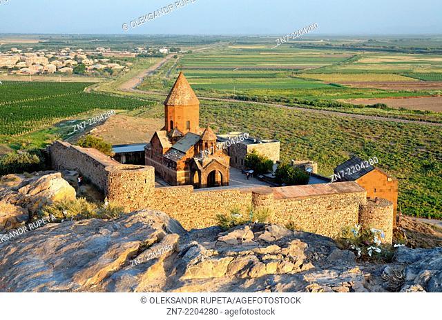 "Khor Virap (""""Deep Well"""") Monastery view from above, Ararat valley, Armenia"