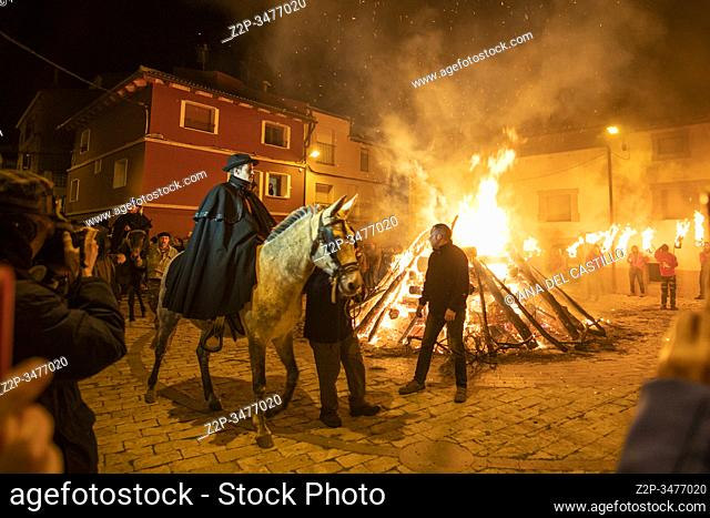 ESTERCUEL TERUEL PROVINCE ARAGON SPAIN ON JANUARY 18, 2020: La Encamisada feast when men rides his horses through the fire in the traditional celebration of...