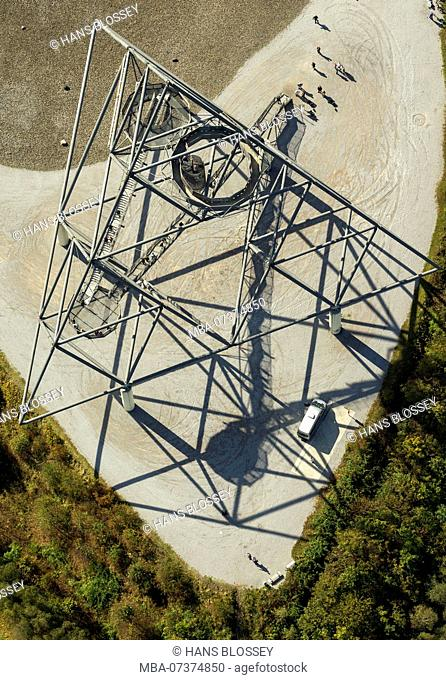 Aerial view, Batenbrock pile with tetrahedron, steel frame, ascent to the tetrahedron, winding path, hairpin bends, zigzag path, Bottrop, Ruhr area