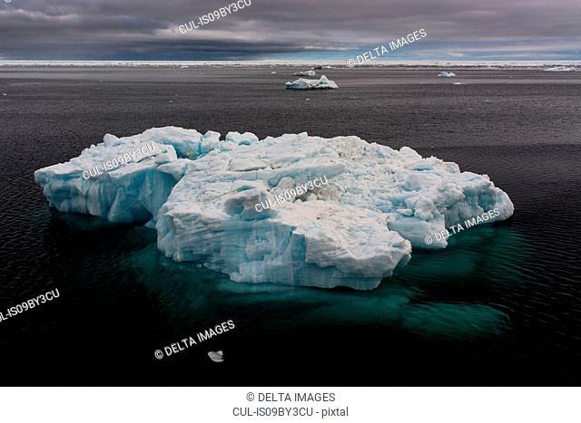 Ice floe seascape, Erik Eriksenstretet strait separating Kong Karls Land from Nordaustlandet, Svalbard Islands, Norway