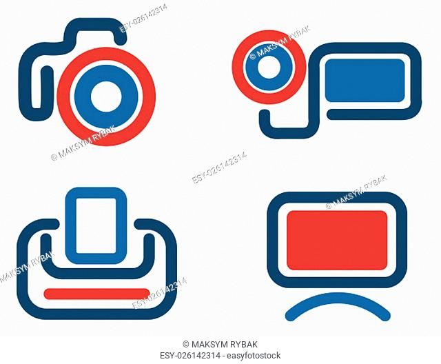 Photo video simply symbols for web and user interface