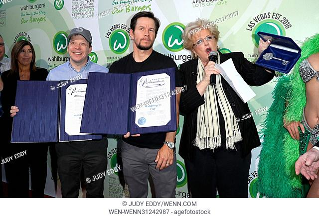 Grand Opening of Wahlburgers at Grand Bazaar Shops at Bally's Las Vegas Featuring: Paul Wahlberg, Mark Wahlberg, Mayor Carolyn Goodman Where: Las Vegas, Nevada