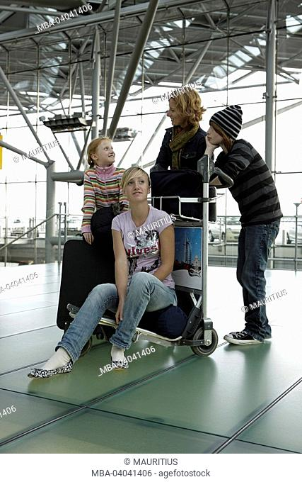 Airport, mother, children, luggage carts
