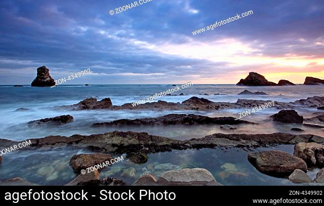 Rocks at Mupe Bay at sunset, Dorset