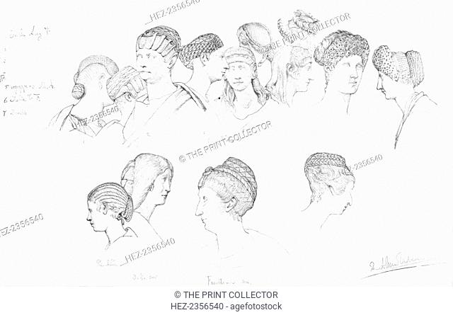 Studies of Roman headresses in the Uffizi Museum, Florence, c1880-1882. A print from Modern Artists, prepared under the direction of FG Dumas, JS Virtue and Co