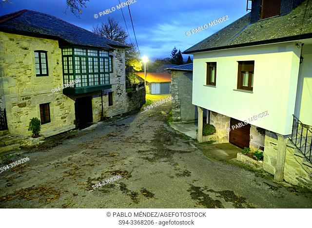 Small square and street in Mouruas, San Xoan de Rio, Orense, Spain