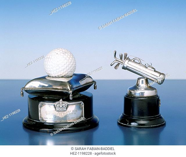Silver golfing trophies, 1920s