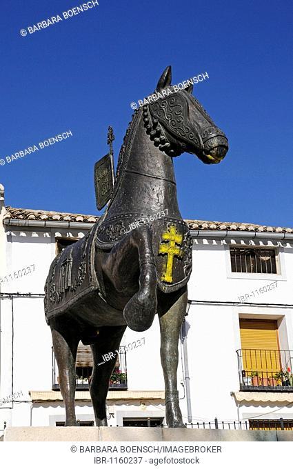 Monument, Plaza de los Caballos del Vino, wine horses, tradition, square, Caravaca de la Cruz, sacred city, Murcia, Spain, Europe