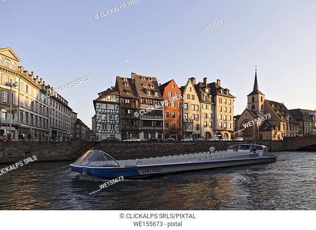 Strasbourg, Alsace, France. Tourist boat