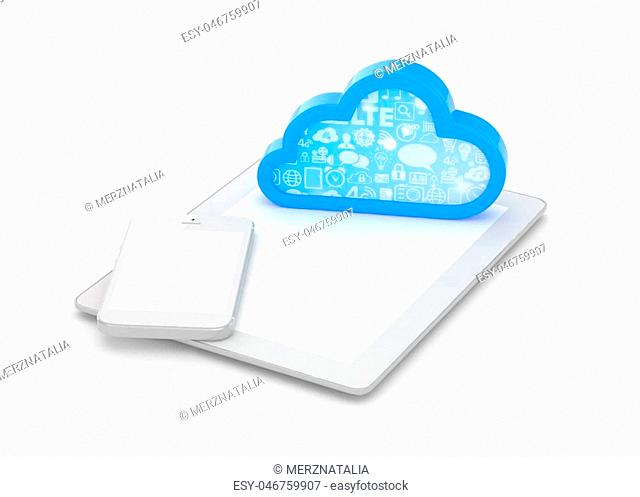 tablet pc, smart phone and cloud. 3d rendering