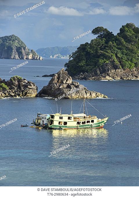 MV Sea Gypsy, a Burmese junk, cruising in the Mergui Archipelago, Myanmar