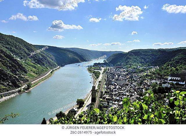 The Middle Rhine Valley with town Oberwesel, Upper Middle Rhine Valley, Germany