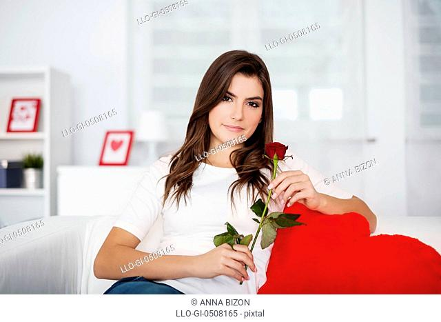 Beautiful woman with red rose Debica, Poland