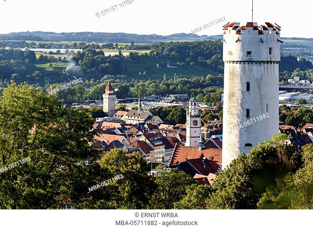 View at flour pouch and the Old Town of Ravensburg, Baden-Wurttemberg, Germany