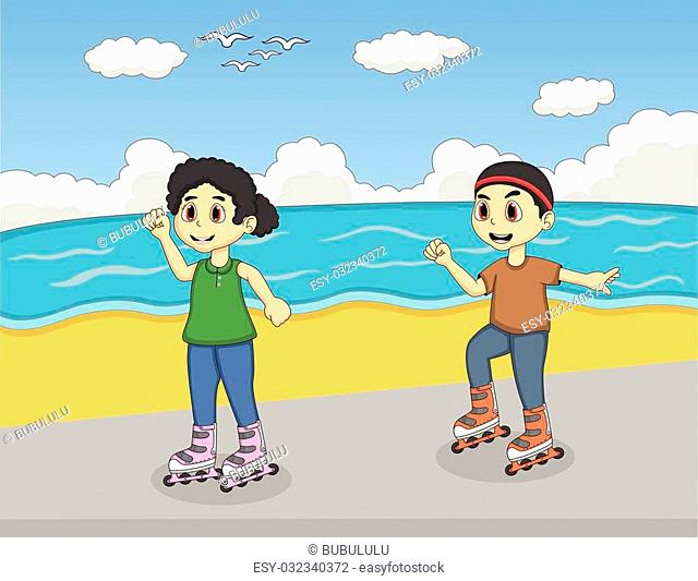 Boy On Rollerblades Cartoon Illustration Stock Photos And Images
