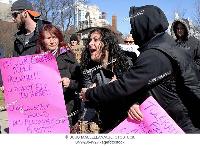 CANADA, Windsor. 04 March 2017. A Canadian Coalition of Concerned Citizens demonstration at City Hall at noon is met by a counter demonstration group