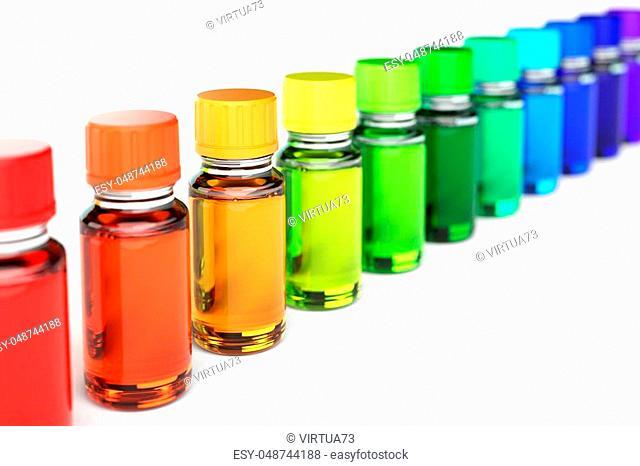 Row of sorted dropper bottles in spectrum colors 3d Illustration