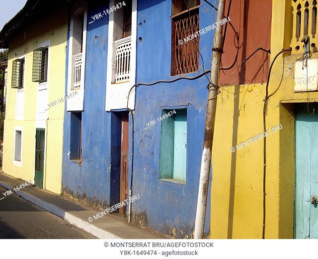 Row of multicoloured houses in Fontainhas, Panaji, Goa, India