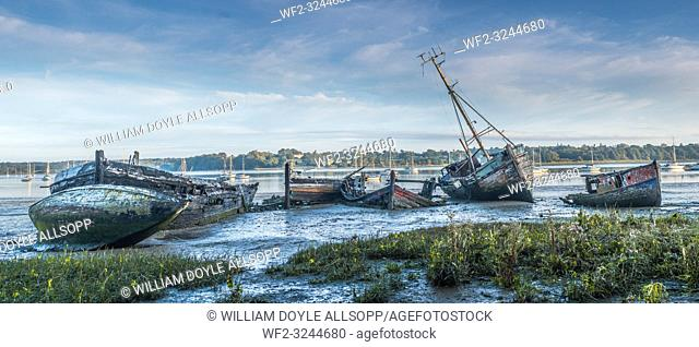 Derelict boats in a graveyard on the mud at Pin Mill