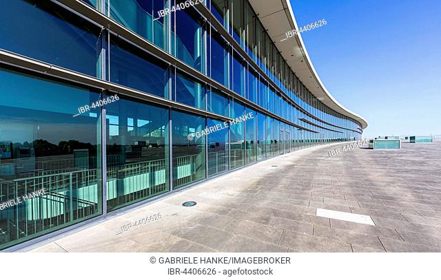 Glass facade of the International Congress Center ICD, Dresden, Saxony, Germany