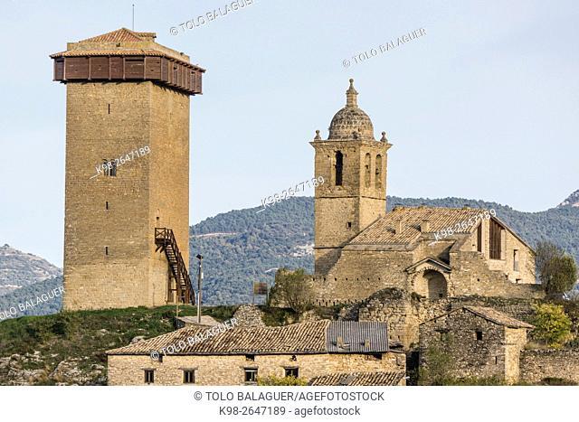 Abizanda ,Pueblo medieval con torreón del siglo XI y capilla románica del siglo X, Provincia de Huesca, Comunidad Autónoma de Aragón, Pyrenees Mountains, Spain