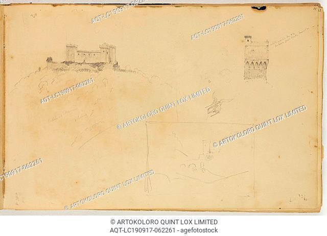 Thomas Cole, American, 1801-1848, Castle of Nanni, ca. 1832, graphite pencil on off-white wove paper, Sheet: 8 7/8 × 13 1/2 inches (22.5 × 34.3 cm)