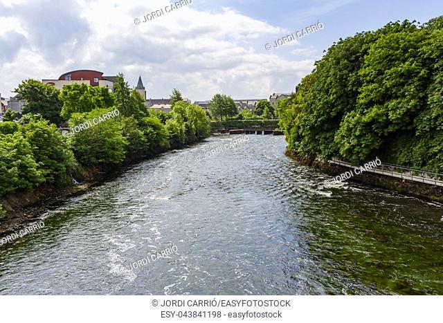 View of the Corrib river in Galway, Ireland