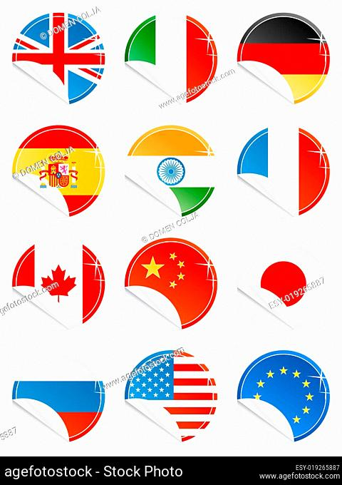 National flag glossy icons