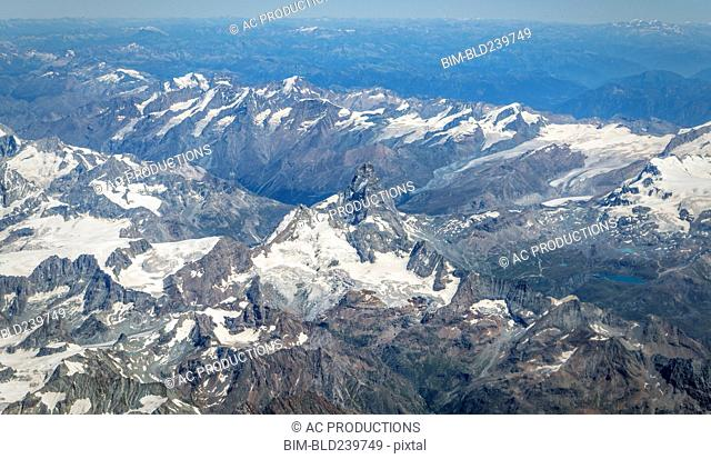 Aerial view of snowy mountain landscape