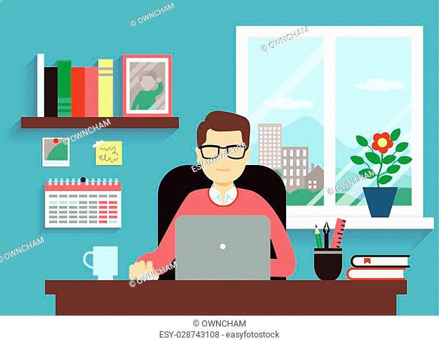 Man With Laptop In Comfortable Workspace