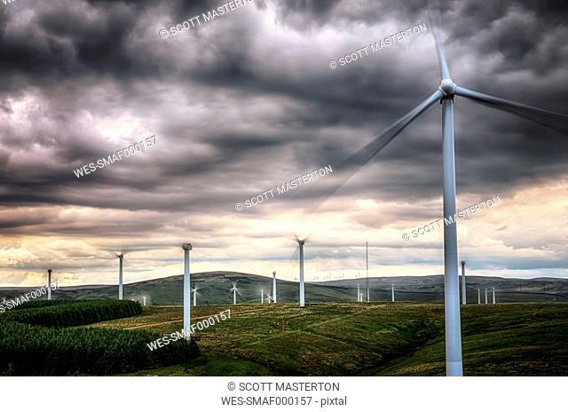 United Kingdom, Scotland, View of wind turbine at Dunbar