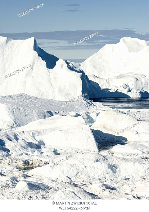 Ilulissat Icefjord also called kangia or Ilulissat Kangerlua at Disko Bay. The icefjord is listed as UNESCO world heritage