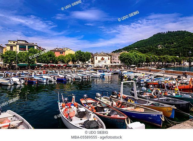Italy, Veneto, Lake Garda, Garda, harbour with lakeside promenade and Piazza Catullo