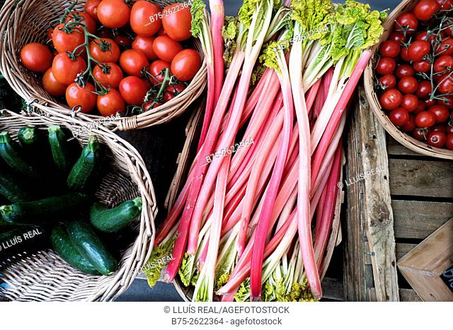 Close up of organic tomatoes in a basket and cherry tomatoes, rhubarb, and courgettes. London, England, United Kingdom, Europe