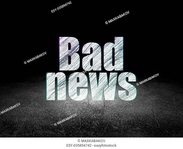 News concept: Bad News in grunge dark room