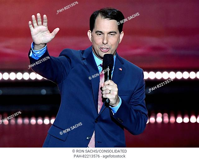 Governor Scott Walker (Republican of Wisconsin) makes remarks at the 2016 Republican National Convention held at the Quicken Loans Arena in Cleveland