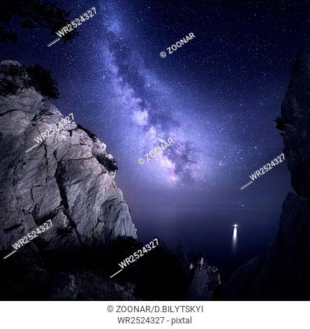 Milky Way. Beautiful night landscape with rocks and starry sky
