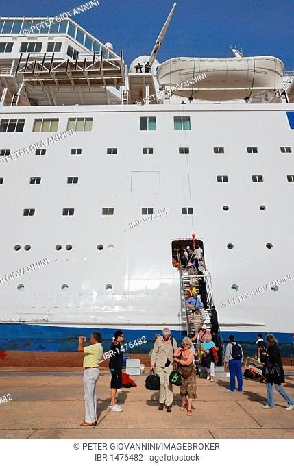 Listing COSTA EUROPA cruise ship after crashing into the quay, evacuation of the passengers, pier of Sharm el Sheikh on 26 February 2010, Egypt, Africa