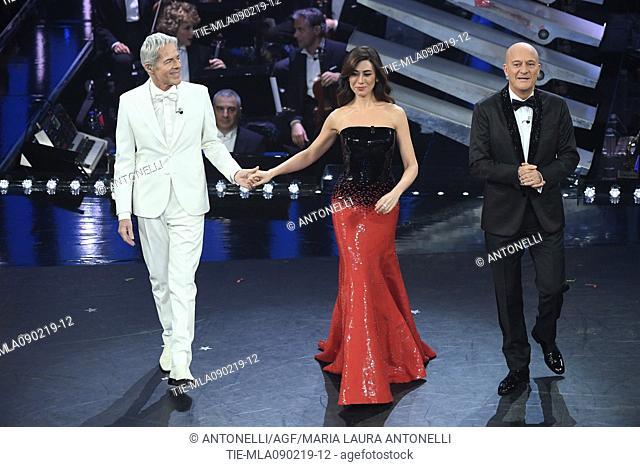 Claudio Baglioni, Virginia Raffaele, Claudio Bisio during 69th Festival of the Italian Song, Sanremo final evening. Sanremo, Italy 09 Febr 2019