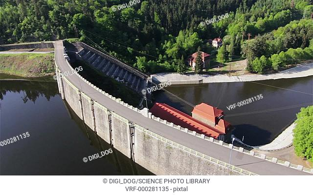 Aerial footage of a water dam in Pilichowice, Poland