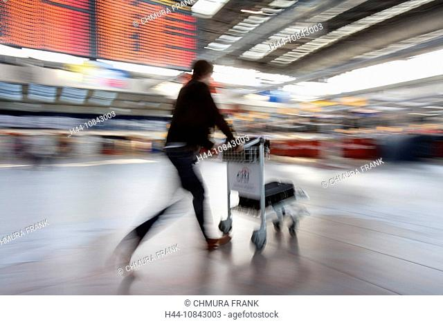 Airport, Baggage, Blurred, Cart, Carts, Connection, Czech Republic, Departure, Europe, Fast, Flight, Hurrying, Hurry