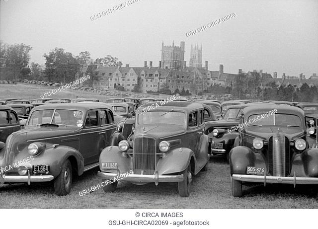 Cars Parked outside Stadium during Duke University-North Carolina Football Game, Durham, North Carolina, USA, Marion Post Wolcott for Farm Security...