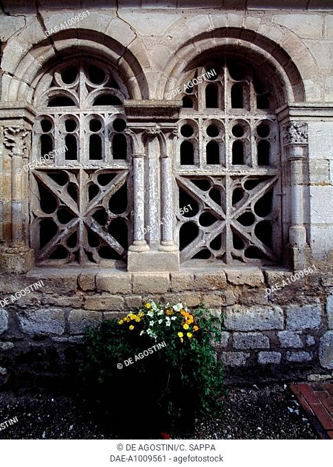 Windows in Saint Pierre and Saint Paul church, Moutiers-en-Puisaye, Burgundy. France, 12th-14th century
