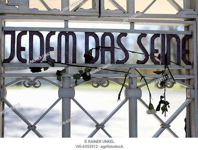 GERMANY, WEIMAR, 19.04.2019, DEU , GERMANY : The memorial of the Nazi concentration camp Buchenwald near Weimar with the proverb JEDEM DAS SEINE at the entrance...