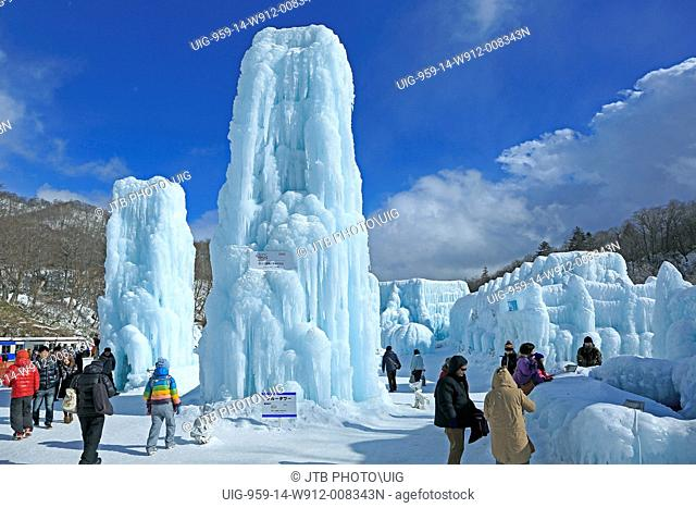 Japan, Hokkaido, Chitose, People at shikotsu ice festival
