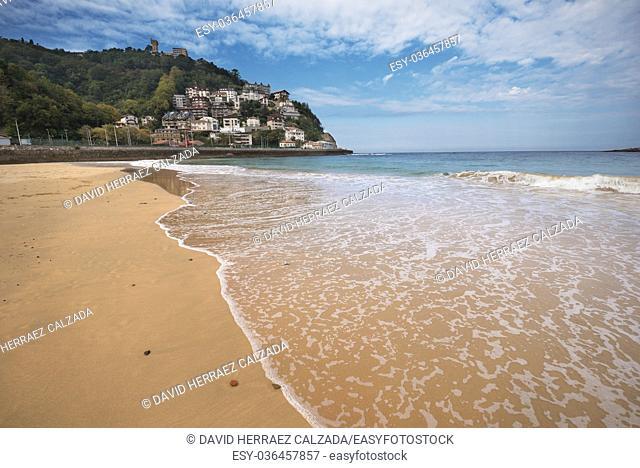 La Concha beach and Igueldo mount, San Sebastian, Basque country, Spain