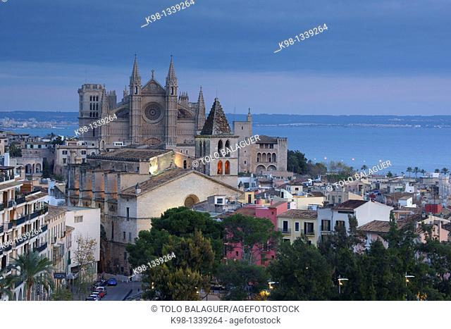 Church of La Santa Creu (in foreground) and Cathedral (in background), Majorca, Balearic Islands, Spain