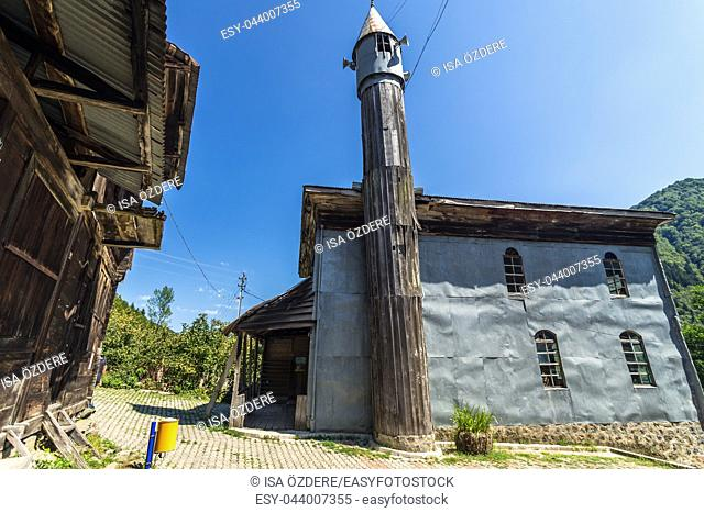 Artvin, Macahel, Camili Camii(mosque), a special mosque coverd with wooden boards built in Eighteen century. TURKEY, Artvin, August 18, 2015